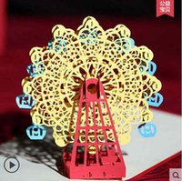 amazing christmas card - 3D Amazing creative Valentine s Day gift Happy Skywheel Greeting cards can be customized Handmade paper carving process Creative pack