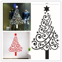 Wholesale EMS Christmas decoration wallpaper red white black stars Christmas tree backdrop stickers home shop window glass backdrop decoration