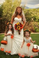 Wholesale 2015 Mother daughter dress Hand made Flower Ivory A Line Jewel Zipper Satin and Tulle Ankle Length Flower girls dress