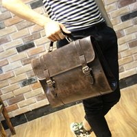 Wholesale Brand Crazy horse PU leather men bags vintage business leather briefcase men s Briefcase men travel bags tote laptop bag man bag