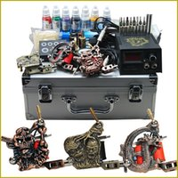 beginner tattoo kit - Complete Tattoo Kits Guns Machines Color Inks Set Pieces Disposable Needle LED Power Supply Beginner Cheap USA Dispatch