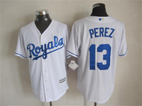 Cheap Newest Baseball Jerseys Royals 2015 Cool Base #13 Perez Home Jersey White Color Made in Honduras Size S-XXXL Mix Order