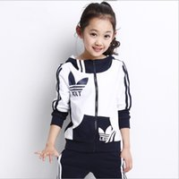 activewear kids - Retail Big Girls Sports Activewear Children Set Spring Autumn Girl s Zipper Hoodies Pants Kids Clothing Child Clothes Tracksuit