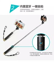 Wholesale Soild not rotating a integrated folding style selfie stick with bluetooth shutter button mini bluetooth monopod WS SQB916 with retail box