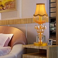 Wholesale Fabric lampshade crystal table lamps European royal table lamp home decoration table lamp crystal table lights crystal indoor table light