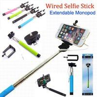 Cheap Z07-5S Extendable Wired Monopod Selfie Stick +Clip Holder Tripod Handheld Monopod Z07- 5Plus Audio Cable Take Pole For iPhone Samsung HTC