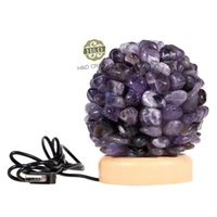 amethyst lamp - Natural Amethyst Flower Ball Wooden Base Night Sleeping Lamp USB LED Emergency Light for Crystal Craft Wedding Party Decoration