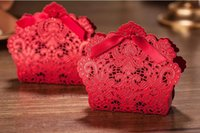 Wholesale pieces Wedding Decorations Red Color Lace Hollow Candy Box Gift Box For Wedding Favors
