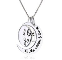 Wholesale Free UPS Fashion Two Piece I Love You To The Moon and Back Silver Pendant Necklace Women Girls Gift Chain MM inch