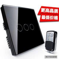 Wholesale Wifi smart phone remote control switch remote control wall touch switch Remote Triple glass panel