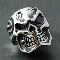 Cheap 316L rings Men Vintage Huge Gothic Skull Black CZ Eye Cigar 316L Stainess Steel Biker Ring Cubic Zirconia Stone US Size 8 9 10 11 12 13 14