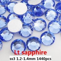 flat back gems - High shine non hot fix rhinestones ss3 mm light sapphire color flat back glue on rhinestone gems