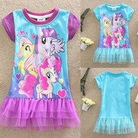 Wholesale 2015 Summer My Little Pony Kids Lace Tutu Girls Dresses Babies Clothes Children Dress Short Sleeve Cartoon Cotton Clothing Factory e Packet