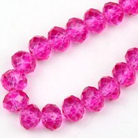 faceted rondelle beads - MIC New Hot Pink Faceted Crystal Rondelle Beads MM