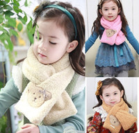 Wholesale 2015 autumn winter children plush scarf candy colors men and women baby cute cartoon bear scarf warm child Scarves h3
