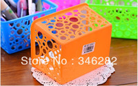 Wholesale Creative hollow circle desk containing a blue plastic storage box