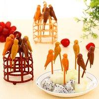 Wholesale Birdcage Set creative cartoon fruit fork multicolor salad fruit forks tableware children s fruit vork plastic for bird