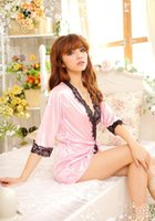Wholesale 6PCS V Neck Bathrobe Sleepwear Cheap Sexy Dresses Exotic Fine Lotus Flower Embroidery Red Sexy Lingeries Low Bosom Christmas Gifts