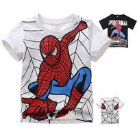 Wholesale 2015 retail Kids Spiderman Short Sleeve T Shirt Top Girls Boys Kids Summer Blouse Years