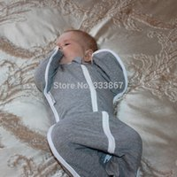 Wholesale Sleepsack Zip Up Swaddle Sleeping Bag Cotton Gray with White Trim Sizes kgs kgs kgs