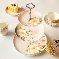 afternoon snacks - Fashion dessert plate bone china snack stand Cakecup pan ceramic high wedding cake stand dessert plate afternoon tea snack rack