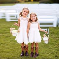 beautiful pictures kids - Beautiful White Ivory Little Kids Holy First Communion Dresses With Jewel Neck Lace Knee Length Flower Girls Dress For Weddings Party