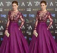 Wholesale Blanca Suarez In Zuhair Murad Dresses Evening Gowns Satin Applique Beaded Sequins Long Sleeve Sheer Jewel Hollow Celebrity Dress
