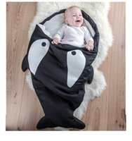 Wholesale Shark Baby Sleeping Bag For Winter Used On Strollers Bed Swaddle Blanket Wrap Cute Cartoon Bedding Sleep Sacks Colors