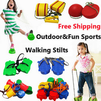 Wholesale 1 Pair Plastic Walk Stilt Children Smiley Face Dinosaurs Hemisphere Stones Stomper Stepping Walking Stilts Game Balance Training