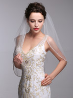 beaded headwear - 2015 Wedding Veils with Delicate Beads Edge Veil ivory White Bridal Headwear Accessory One Layer Elbow Lengh Bridal Veils With Comb
