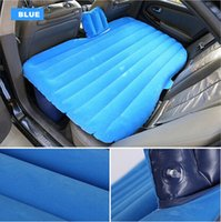 Wholesale Car back Seat inflatable Air Mattress bed High quality Car flocking inflatable bed Pillow Cushion as gift