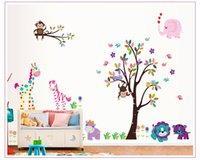 art deco monkey - DF5099 Owl monkey animal Tree Vinyl Wall Stickers kids Decor Home Wall Paper Decal deco Art Sticker New Big Set