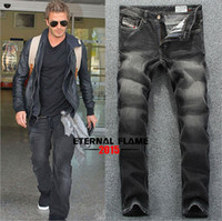 Wholesale Famous Brand Mens Jeans Straight Black Color Printed Jeans For Men Fashion Designer Large Size cowboy Brand Jeans Men