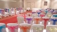 Wholesale Olive Green Wedding Organza Chair Cover Sashes Party Banquet Decor Bow hot Colours