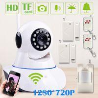 Wholesale 2015 NEW Smart Home Alarm Kit Wireless Wifi HD P IP camera Megapixel TF Card Slot integrated with RF433mhz Alarm Sensor