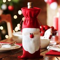 acrylic table cover - Santa Claus Christmas Gift Bag Red Wine Bottle Cover Bags Christmas Dinner Table Home Party Decorations Ornament party decorat