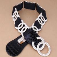 western belt buckles - women girl western elastic belts rhinestone crystal buckle women dress black wide corset fabric knitted canvas wide belts