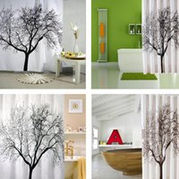 Wholesale 1pcsNew Black Scenery Tree Design Stylish Bathroom Waterproof Fabric Shower Curtain