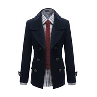 Wholesale Fall New Fashion Men s Wool Coat Leisure Long Trench Coat Winter Jacket Double Breasted Woolen Overcoat Pocket Cashmere Coat