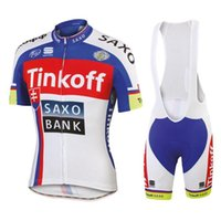 Wholesale 2015 Tinkoff Saxo Cycling Jersey Set White Red Short Sleeve Silicon Padded Bib Trousers Ultra Breathable Men Summer Cycling Kit