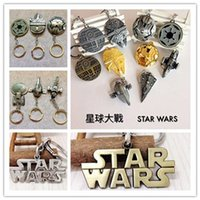 Wholesale 2016 Star Wars Keychain Airship Metal Key buckle Star Trek Spaceship Battleship key ring Children cartoon gifts with retail package style