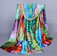 Wholesale Thickening silk painting scarves fashion High grade scarf oversized sunscreen female emulation scarf shawl scarf scarves Scarves Wraps