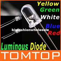 Wholesale 50Pcs Pack mm LED Diode Green Yellow White Blue Red Light Discrete LED Bulb Light Luminous Diode