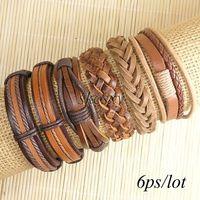 Wholesale cool bangles ethnic tribal genuine adjustable leather bracelet for Men TE147