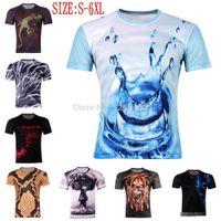 Wholesale New Fashion Mens D Drops water atomic bomb Superman print t shirt short sleeve t shirts S XXXXXXL plus