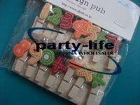 Wholesale 14pcs set Color Number symbols Wooden Clothes Socks Memo Photo PostCard Clip sets