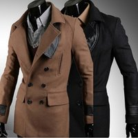 leather trench coat - Europe and America men s quality leather stitching fashion double breasted trench coat