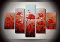 Cheap Free shipping red 100% Handmade Large Purple Orchid Oil Painting Picture Wall Art Flower Interior Home Decoration