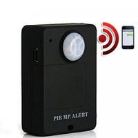 Wholesale Mini Wireless PIR Infrared Sensor Detector GSM Alarm System Anti theft PIR MP Alert A9 Infrared GSM Wireless Alarm