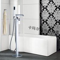 Wholesale Luxury Square Chrome Brass Floor Stand Bathtubs Faucets Water Mixers Bath Crock Tap Sauna Room Sets Spa Tub Furniture Bathroom Shower Sets